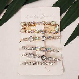 Gold and Silver Crystal Hair Clip, Hair Pin Set